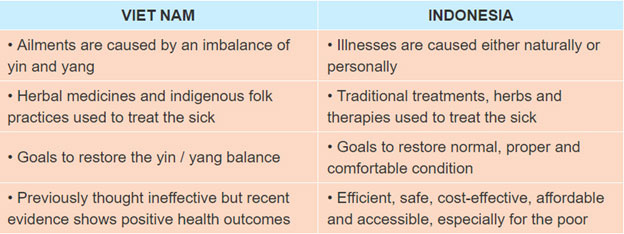 1. Read about some traditional health beliefs and practices in Viet Nam and Indonesia