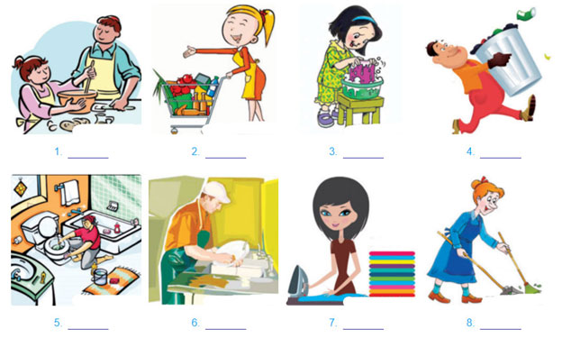1. What chores are the people doing? Write the name of the chore under each picture