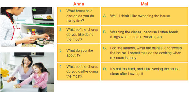 2. Below is part of Anna's interview with Mai. They are talking about the household chores Mai likes and dislikes. Match Mai's answers with Anna's questions. Then practise the conversation
