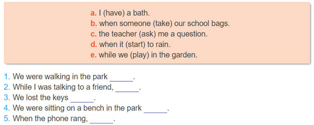 2. Match 1-5 with a-e and complete the sentences in the past simple or the past continuous.