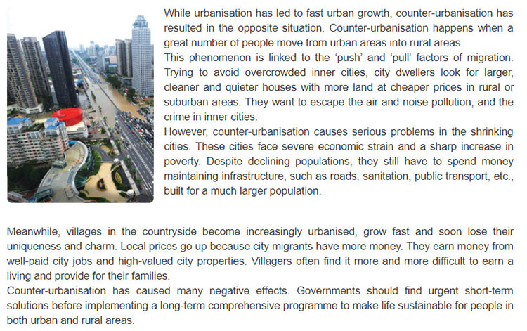Lop 12 moi.Review Unit 1-2-3.Skills.1. Read the text about the causes and effects of counter-urbanisation