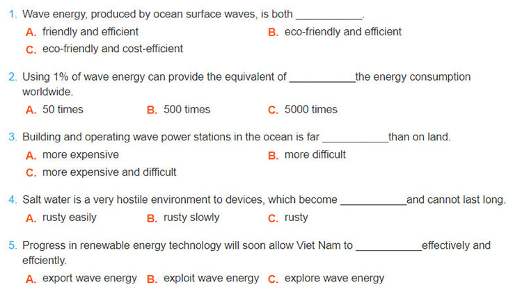 Lop-12-moi.Review-Unit-1-2-3.Skills.4. Listen to the recording about wave energy. Choose the best option to complete the sentence