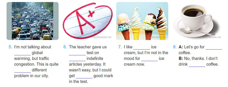 Lop-12-moi.unit-1.Language.III. GRAMMAR.3. Complete the gaps with a, an or a cross (x) if an article is not necessary-2