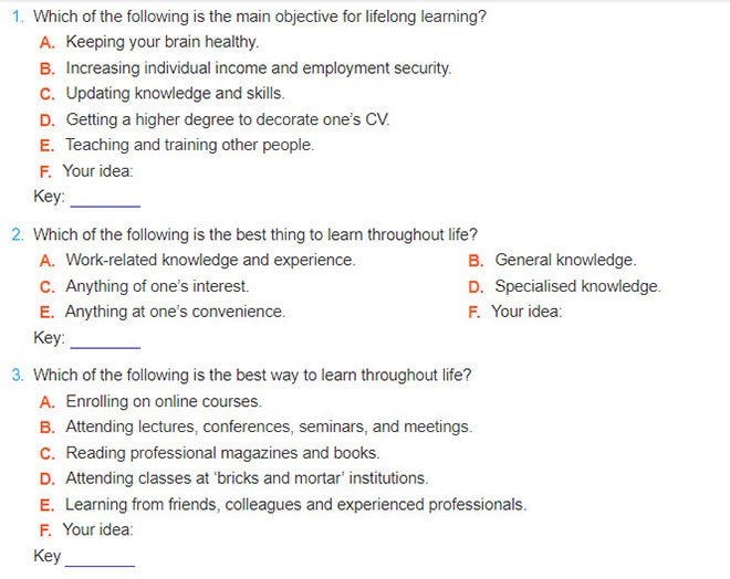 Lop 12 moi.unit 10.Project.1. Work in groups. Each group member interviews ten people about their perception of lifelong learning. Use the questionnaire shown here as a guide