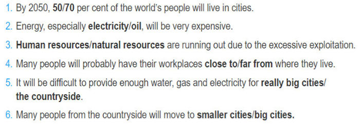 Lop 12 moi.unit 2.Communication and Culture.1. Listen to a talk about predictions for life in cities in 2050 and choose the correct option in each of the following sentences