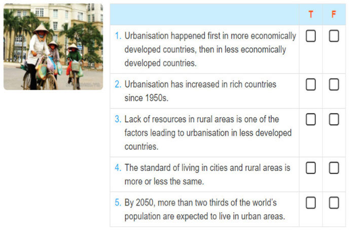 Lop 12 moi.unit 2.Reading.1. You are going to read a text about urbanisation. Predict whether the following statements are true (T) or false (F)