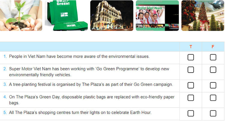 Lop 12 moi.unit 3.Communication and Culture.I. Communication.1. Listen to an overview of the green movement in Viet Nam. Decide whether the following statements are true (T), or false (F). Tick the correct box