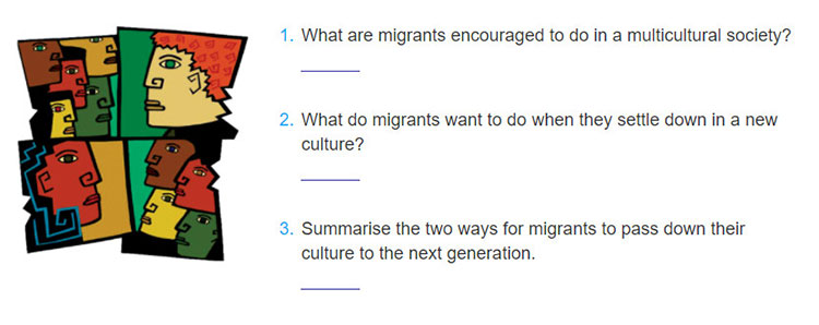 Lop 12 moi.unit 5.Communication and Culture.I. Communication.1. Listen to a talk by Mr Ben Wilson, a sociologist and psychologist, about preserving migrants' cultural identity. Answer the questions