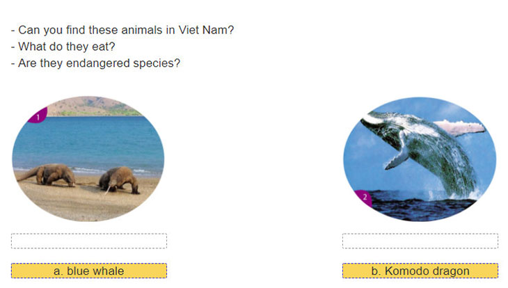 Lop 12 moi.unit 6.Writing.1. Match the pictures with the animals' names. Then discuss the questions with a partner