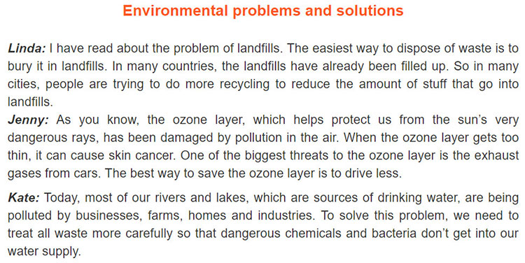 Lop 10 moi.Review 4.Unit 9, 10.Skills.I. Reading.1. Read about three people describing some environmental problems and solutions