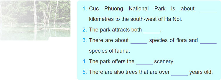 Lop 10 moi.Review 4.Unit 9, 10.Skills.III. Listening.5. Listen to the recording about Cuc Phuong National Park and fill in the missing information