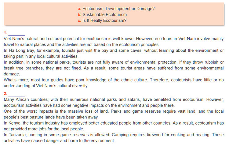 Lop-10-moi.unit-10.Communication-and-Culture.II.-Culture.2. Read two articles about some problems with ecotourism in Viet Nam and Africa. Then match the titles with the articles. One title is extra