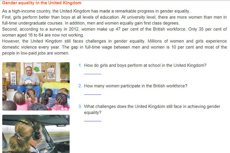 Lop-10-moi.unit-6.Communication-and-Culture.II. Culture.Read the following text about gender equality in the United Kingdom and answer the questions