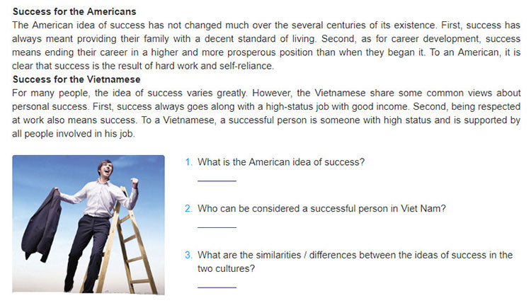 Lop-10-moi.unit-7.Communication-and-Culture.II. Culture.1. Read the two texts about the American and the Vietnamese ideas of success and answer the questions