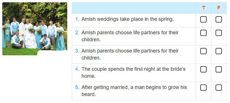 Lop 10 moi.unit 7.Listening.1. You are going to listen to a talk about the wedding traditions of the Amish community living in Pennsylvania, the USA. Make your own predictions about them by deciding whether the following stateme