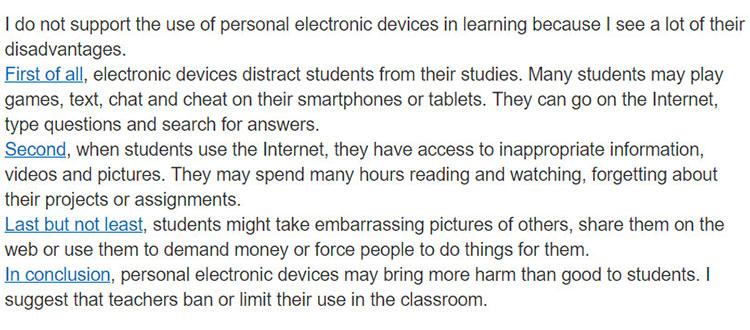 Lop-10-moi.unit-8.Writing.3. Read the following text about the disadvantages of using electronic devices in class. Underline the words / phrases the writer uses to link the ideas in 2 together