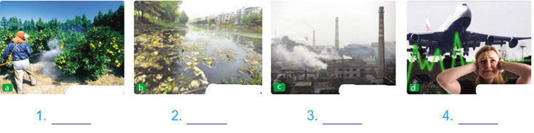 Lop 10 moi.unit 9.Speaking.1. Label the photos with the types of pollution