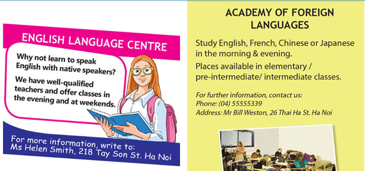 Lop-11-moi.REVIEW-1.Unit-1,-2,-3.Skills.IV. WRITING.5. Read the advertisements and choose one of the language schools you want to attend to improve your English