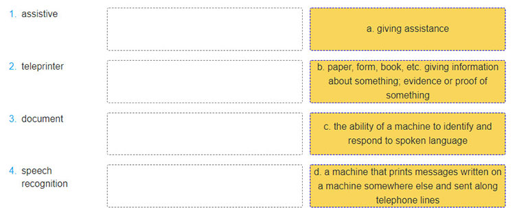 Lop-11-moi.Review-2.Unit-4,-5.Skills.I.-READING.1.b. Match the words in A with their definitions in B