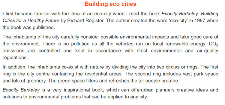 Lop 11 moi.Review 4.Unit 9, 10.Skills.I. READING.1. Read the text about eco-city planning