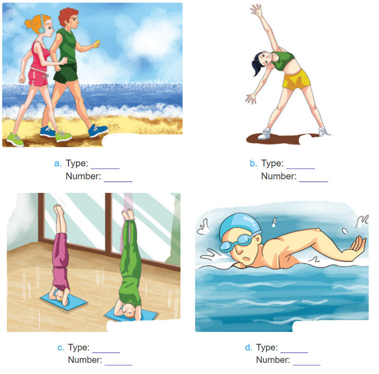 Lop-11-moi.unit-10.Listening.2. Look at the pictures. Listen to John Keith, a fitness instructor, talking about four types of physical activity. Number the pictures as you listen