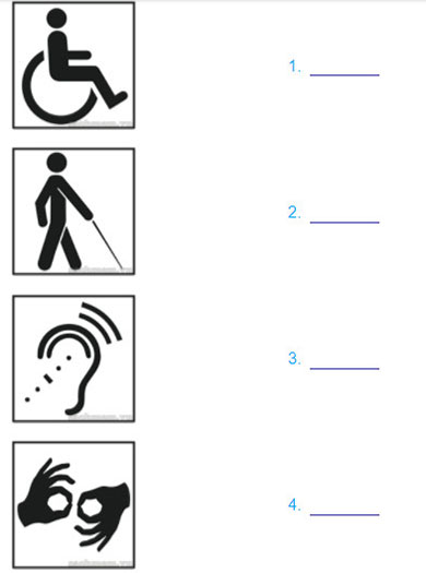 Lop 11 moi.unit 4.Reading.1. Look at these symbols. They are used to indicate acccss for people with disabilities. Write who each symbol is for
