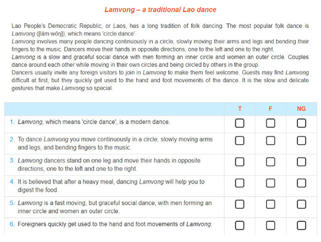 Lop-11-moi.unit-5.Communication-and-Culture.II.-CULTURE.2. Read the text about Lam Vong and decide whether the following statements are true (T), false (F), or not given (NG). Tick the correct box