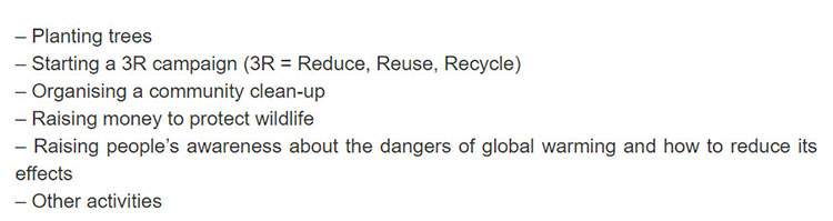 Lop 11 moi.unit 6.Project.1. Work in groups. Discuss which of the following activities your group can do to help reduce the carbon footprint of your school and community
