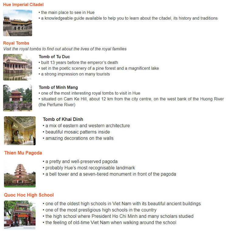 Lop 11 moi.unit 8.Speaking.1. Read the information about some attactions in Hue. Work in pairs. Choose one place in Hue you would like to visit. Tell your partner about it