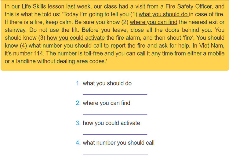 Lop-9-moi.unit-3.Looking-Back.5. Rewrite the underlined phrases in the following text, using question words + fo-infinitives