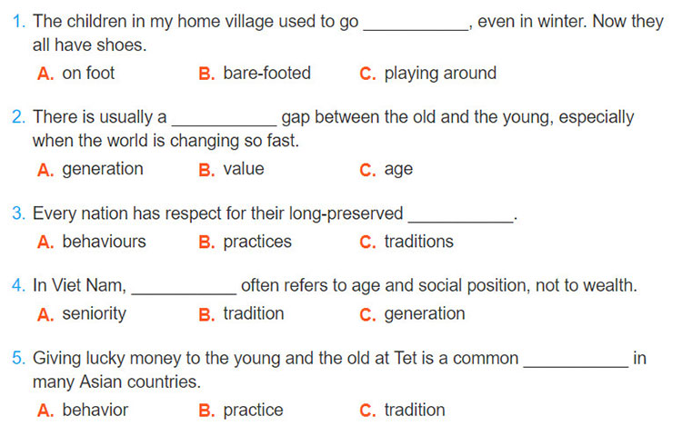 Lop 9 moi.unit 4.Looking Back.I. Vocabulary.1. Choose the best answer A, B, or C to complete the sentences
