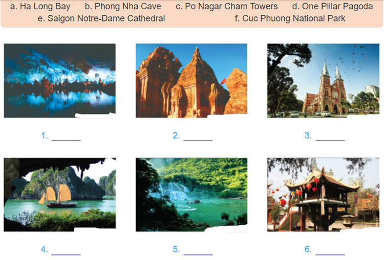 Lop-9-moi.unit-5.Getting-Started.3. a. Below are some places of interest in Viet Nam. Write them under the pictures