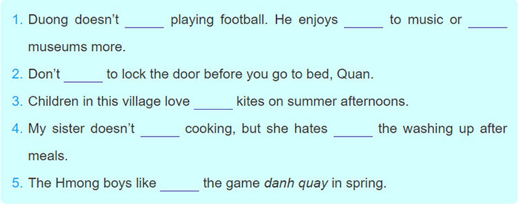 tieng-anh-lop-8-moi.Review-1.Unit-1,-2,-3.Language.4. Put a verb in the correct form in each gap to complete the sentences