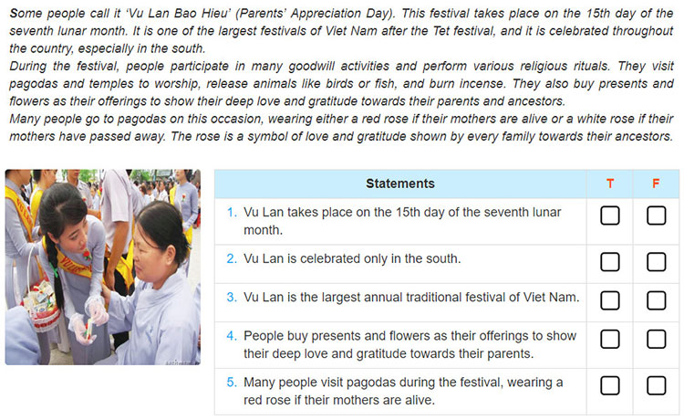 tieng-anh-lop-8-moi.Review 2.Unit 4, 5, 6.Skills.1. Read about the Vu Lan Festival in Viet Nam and decide whether the statements are true (T) or false (F)