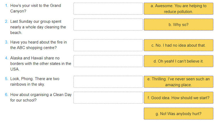 tieng-anh-lop-8-moi.Review-3.Unit-7,-8,-9.Language.7. Match the sentences in A with replies in B