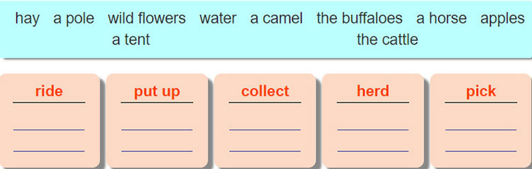 tieng-anh-lop-8-moi.unit-2.A-Closer-Look-1.3. Match the nouns/ noun phrases in the box with each verb