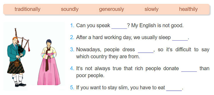 tieng-anh-lop-8-moi.unit-2.A-Closer-Look-2.2. Complete the sentences with suitable comparative forms of adverbs in the box