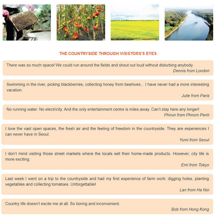 """tieng-anh-lop-8-moi.unit-2.Communication.1. Read the posts on """"Holidays in the Countryside"""""""