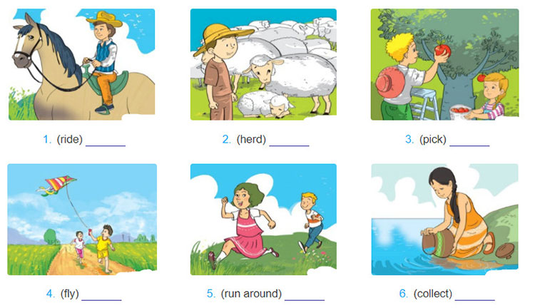 tieng-anh-lop-8-moi.unit-2.Looking-Back.2. Look at each picture and write a sentence describing what each person is doing. Use the verbs in brackets
