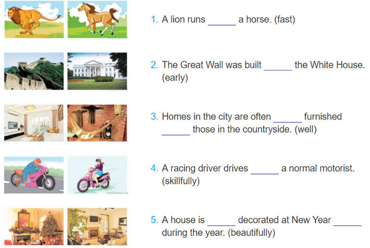 tieng-anh-lop-8-moi.unit-2.Looking-Back.3. Look at the pictures and complete the sentences, using suitable comparative forms of the adverbs in brackets