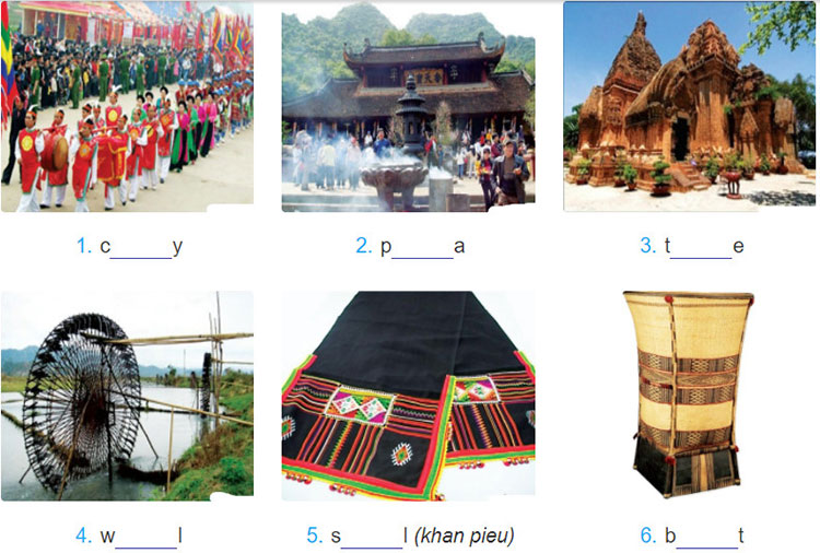 tieng-anh-lop-8-moi.unit-3.A-Closer-Look-1.3. Work in pairs. Discuss what the word is for each picture. The first and last letters of each word are given