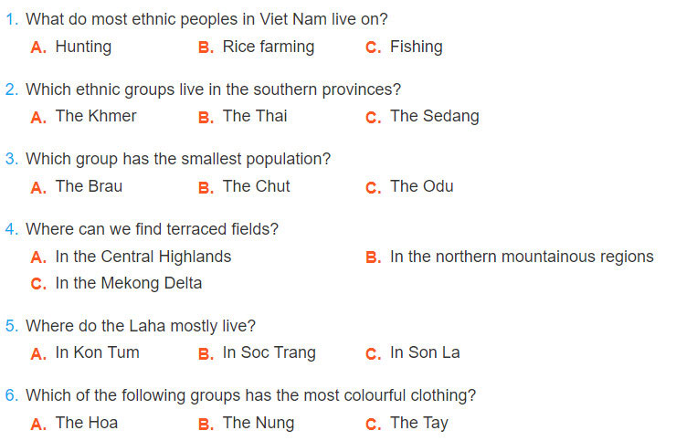tieng-anh-lop-8-moi.unit-3.Communication.1. Quiz: What do you know about the ethnic groups of Viet Nam? Work in pairs to an­swer the questions