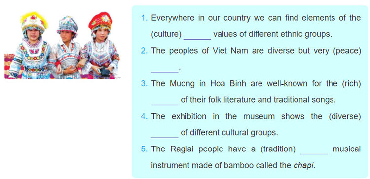 tieng-anh-lop-8-moi.unit-3.Looking-Back.2. Use the correct form of the words in brackets to finish the sentences