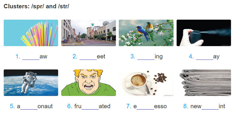 tieng-anh-lop-8-moi.unit-4.A-Closer-Look-1.5. Complete the words under the pictures with spr or str. Then listen and repeat