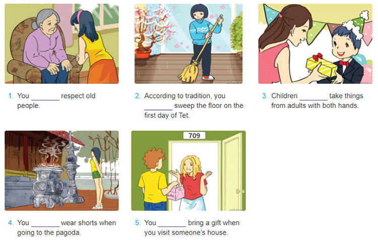 tieng-anh-lop-8-moi.unit-4.A Closer Look 2.1. Look at the pictures an complete the sentences with should or shouldn't