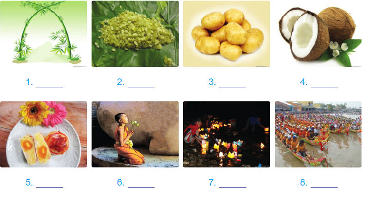 tieng-anh-lop-8-moi.unit-5.Communication.1. Look at the pictures.a. What are the things in the pictures