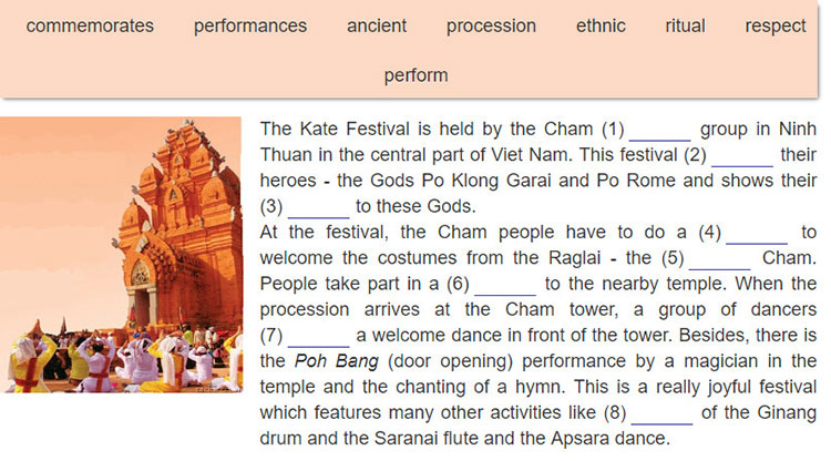 tieng-anh-lop-8-moi.unit-5.Looking-Back.2. Complete the text about the Kate Festival with the words in the box