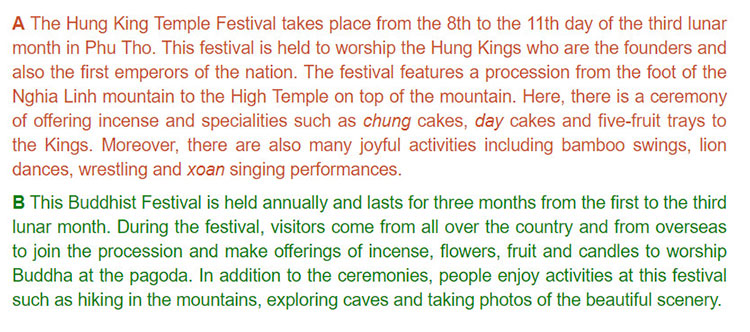 tieng-anh-lop-8-moi.unit-5.Skills-1.2. Now read the information about these festivals to check your ideas