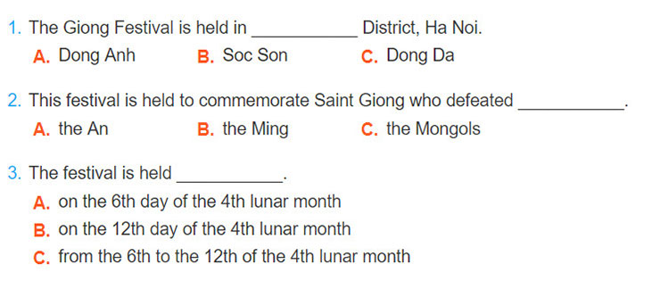 tieng-anh-lop-8-moi.unit-5.Skills-2.2. Listen to a tour guide giving information about the Giong Festival and circle the correct answer A, B, or C