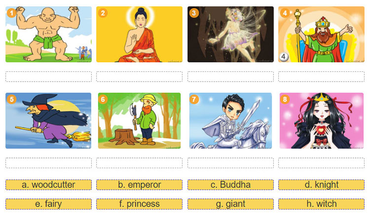 tieng-anh-lop-8-moi.unit-6.A Closer Look 1.1. These are popular characters in folk tales. Match the characters with the pictures. Can you add more